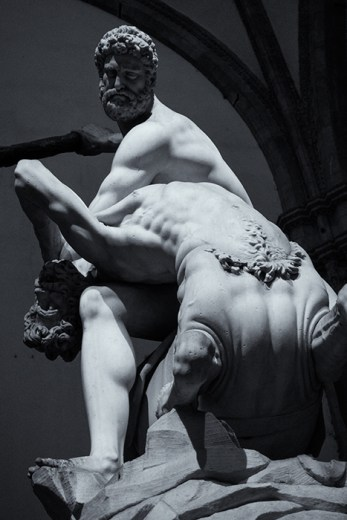Another of the statues around Piazza della Signoria. This marble by Bandinelli (1533) of Hercules beating up on the centaur Cacus. As a Sagittarius, I'm not at all pleased with Hercules at this point.