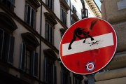 One of the more evident street artists in Florence is Clet Abraham, or just Clet. Using stickers, he changes many of the street signs around the city. Makes for quite an interesting treasure hunt. He also has a shop in the Oltrarno area where you can buy stickers and other of his art works.