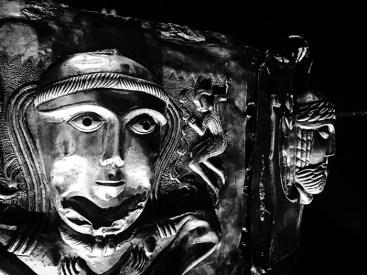 Celtic mythical figures and gods on the Gundestrup cauldron at the National Museum.