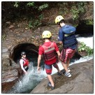 First jump in canyoning