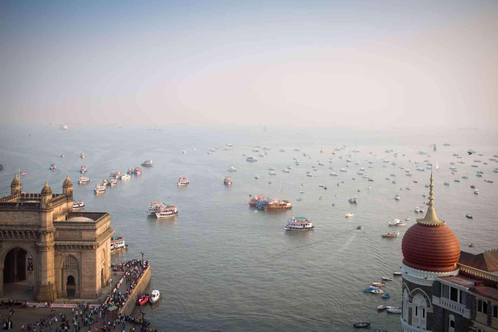 Mumbai Gateway of India and Arabian Sea.
