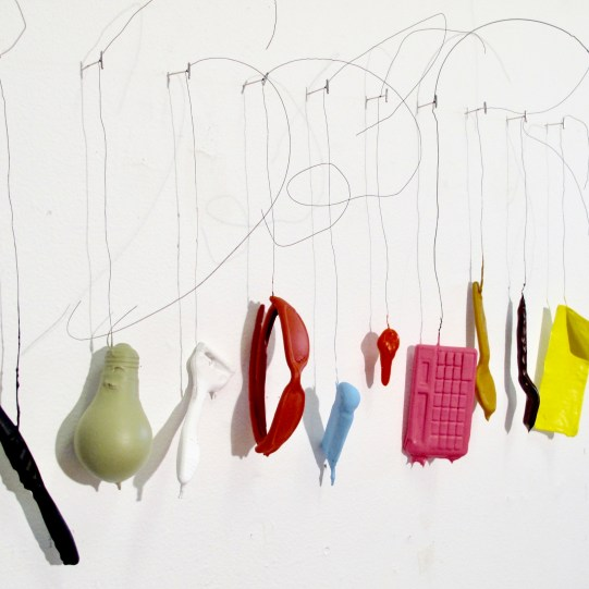 "Jeff Iorillo ""A Day In The Life"" everyday objects, acrylic, steel wire & pins dimensions variable (18"" x 42"") http://www.jeffiorillo.com/"