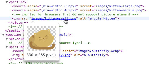 Hovering over an image source in DevTools shows a preview