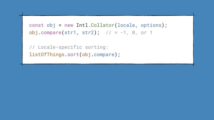 Code sample of using the Intl.Collator() API.