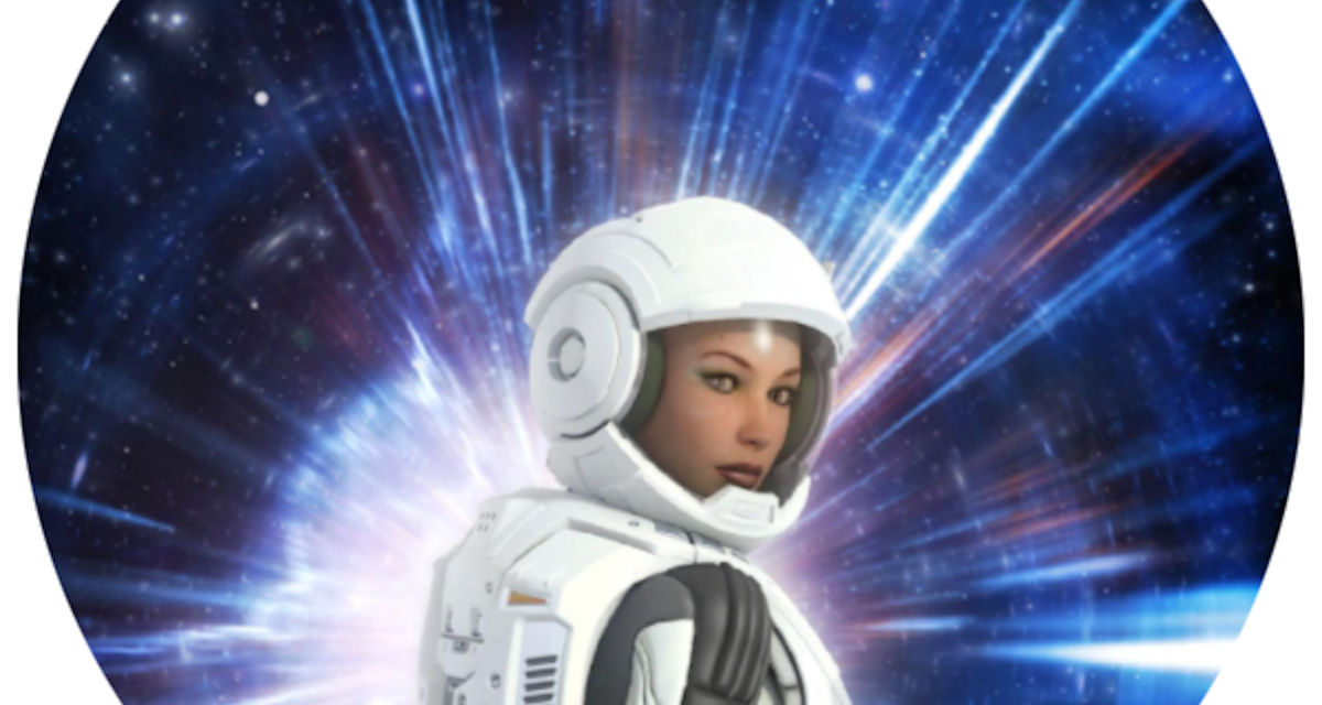 Futuristic astronaut girl in space suit and planet