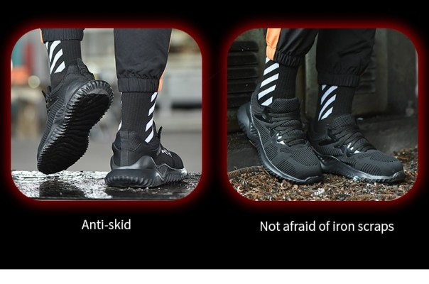 JACKSHIBO Men Safety Work Shoes Boots Male Autumn Steel Toe Boots Anti-Smashing Protective Construction Safety Work Sneakers 17