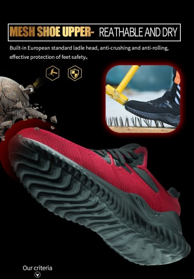 JACKSHIBO Men Safety Work Shoes Boots Male Autumn Steel Toe Boots Anti-Smashing Protective Construction Safety Work Sneakers 10