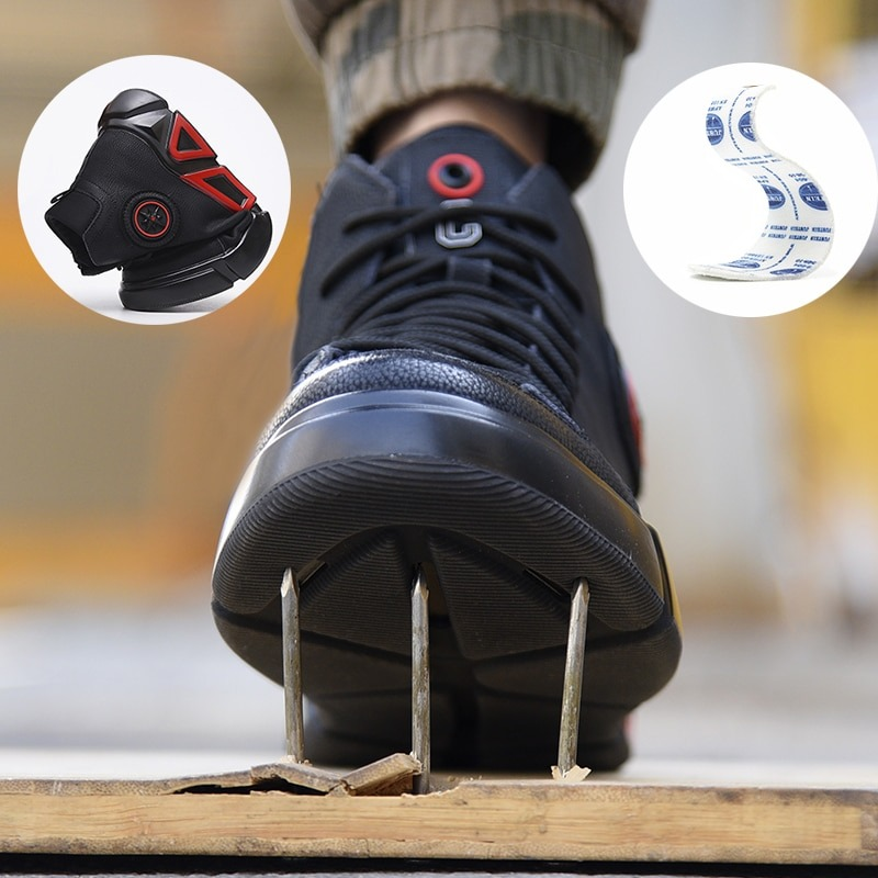 New exhibition waterproof Genuine Leather Safety shoes steel toe cap anti-smashing Work Boot Winter Plush Warm Military Men Boot 4