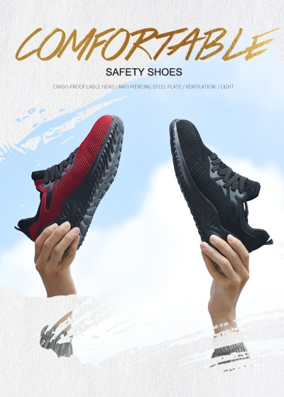 JACKSHIBO Men Safety Work Shoes Boots Male Autumn Steel Toe Boots Anti-Smashing Protective Construction Safety Work Sneakers 9