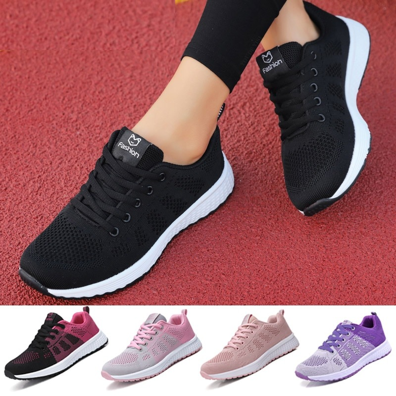 Flat Lace-Up Mesh Light Breathable Women Shoes  1