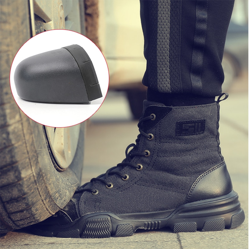 JACKSHIBO Safety Work Boots Shoes For Men All Season Anti-smashing Steel Toe Cap Boots Indestructible Working Shoes Boots Men 4