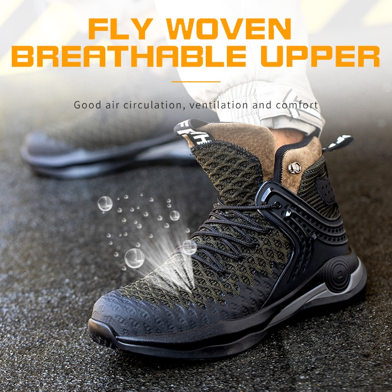 Winter Safety Boots Men Lightweight Comfortable Steel Toe Cap Anti-Piercing Outdoor Foot Protection Work Shoes Sneaker Big Size 3