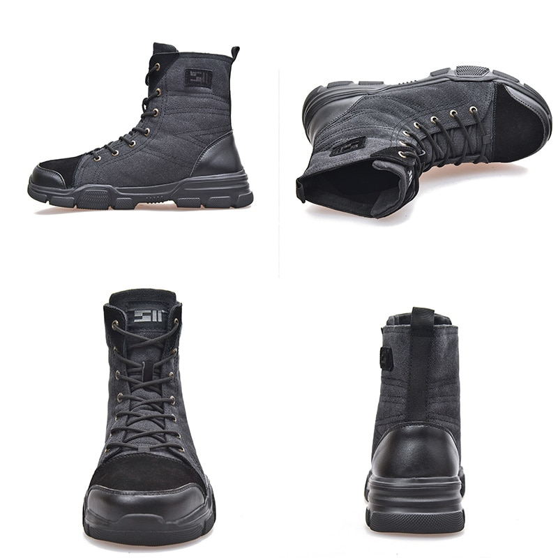 JACKSHIBO Safety Work Boots Shoes For Men All Season Anti-smashing Steel Toe Cap Boots Indestructible Working Shoes Boots Men 2