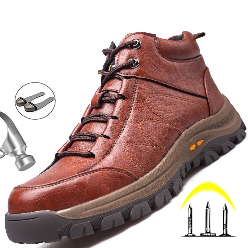 Indestructible Work Boots Safety Steel Toe Shoes Men Outdoor Work Shoes Puncture-Proof Safety Shoes Men Winter Shoes Men Boots 1