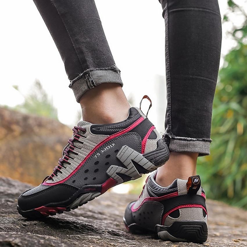 Women Genuine Leather Hiking Shoes Waterproof Non-slip Ladies Camping Travel Sport Climbing Shoes Mountain Trekking Sneakers 3