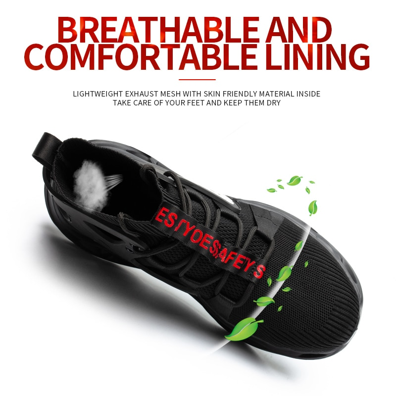 Breathable Men's Safety Shoes New Work Shoes Waterproof Breathable SRA Non-slip EVA Four Breathable Men's Safety Shoes Size 48 5