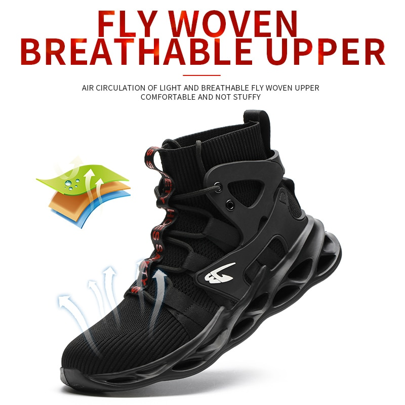 Breathable Men's Safety Shoes New Work Shoes Waterproof Breathable SRA Non-slip EVA Four Breathable Men's Safety Shoes Size 48 3