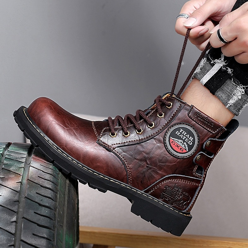 Autumn/Winter Working Boots For Men Black High Top Men Casual Shoes Brand Fashion Motorcycle Boots Genuine Leather Men Boots 1