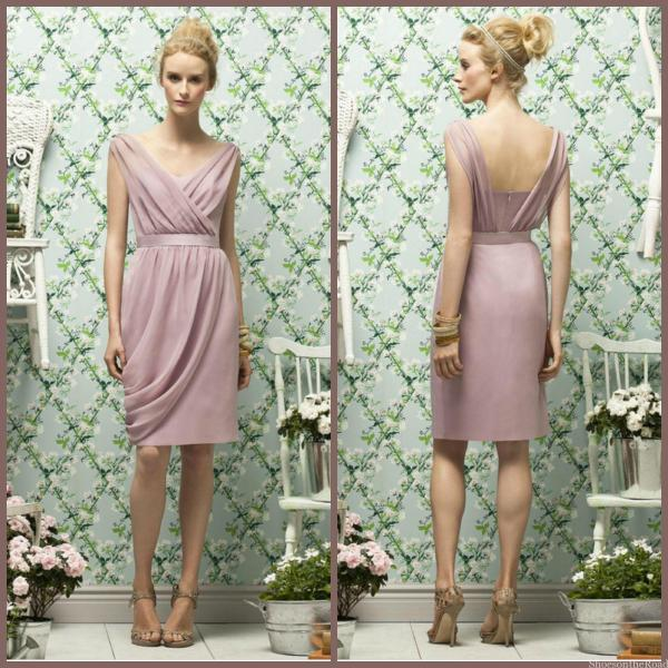 Chiffon Zipper Natural V-neck Sheath Bridesmaid Dresses_shoesontheroad