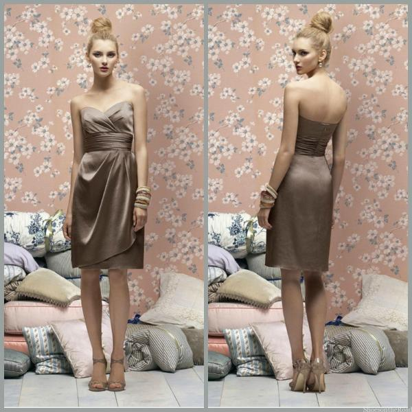 Empire Satin Sheath Sleeveless Knee-length Bridesmaid Dresses_shoesontheroad