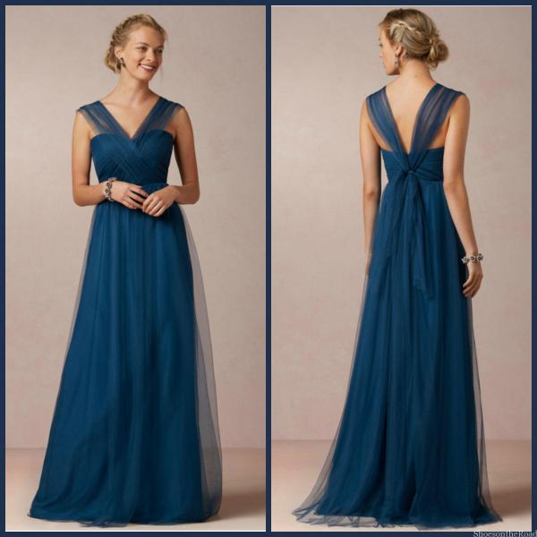 Tulle Zipper V-neck Floor-length Natural Bridesmaid Dresses_shoesontheroad