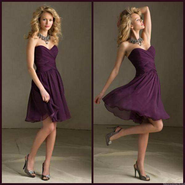 ectarean A-line Sweetheart Ruching Above Knee-length Chiffon Bridesmaid Dresses_shoesontheroad