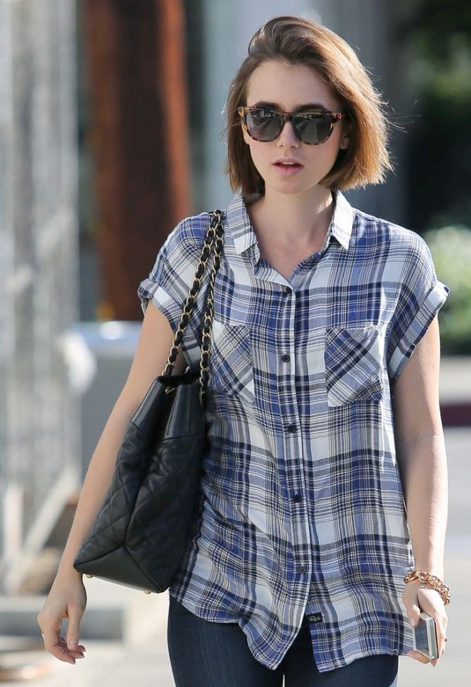 Lily Collins Continues To Look Chic In Casual Plaid Shirt