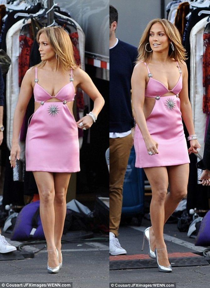 Jennifer Lopez Fails To Impress In Short Pink Cutout Dress