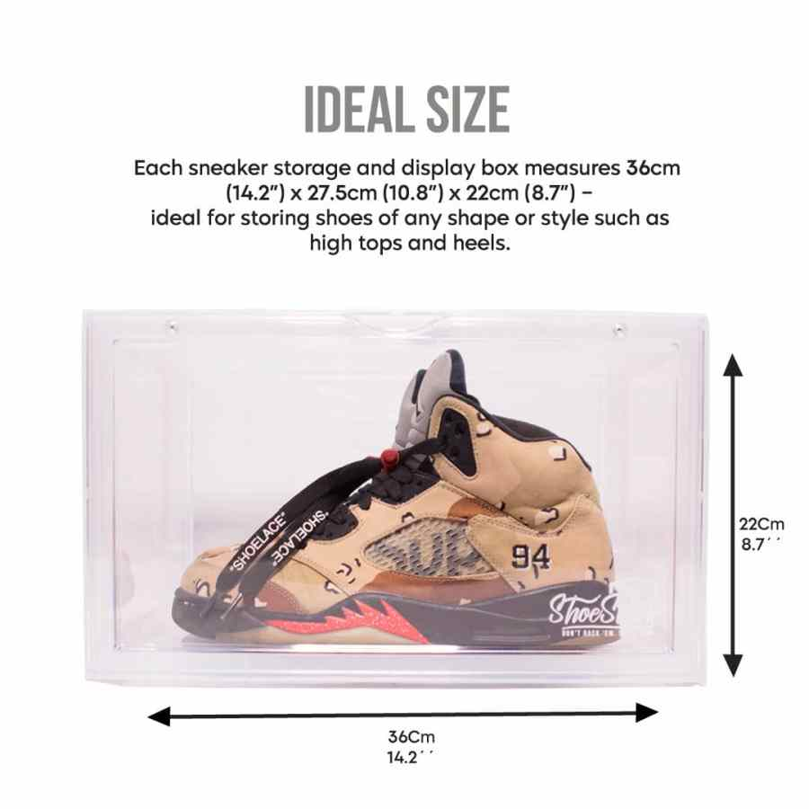 sneaker boxes in clear side view