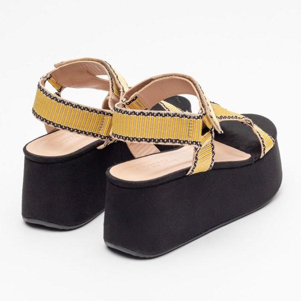 sandalia-Feminina-anabela-plataforma-flatform-verão-2021-solado-preto-cabedal-gorgurão-amarelo-shoes-to-love-loja-online-calçados-femininos-tendencias