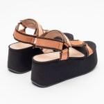 sandalia feminina anabela plataforma flatform verão 2021 solado preto cabedal gorgurão laranja shoes to love loja online calçados femininos tendencias (16)