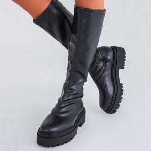 bota feminina strecth preta estilo meia, com ziper na lateral parte interna loja on line