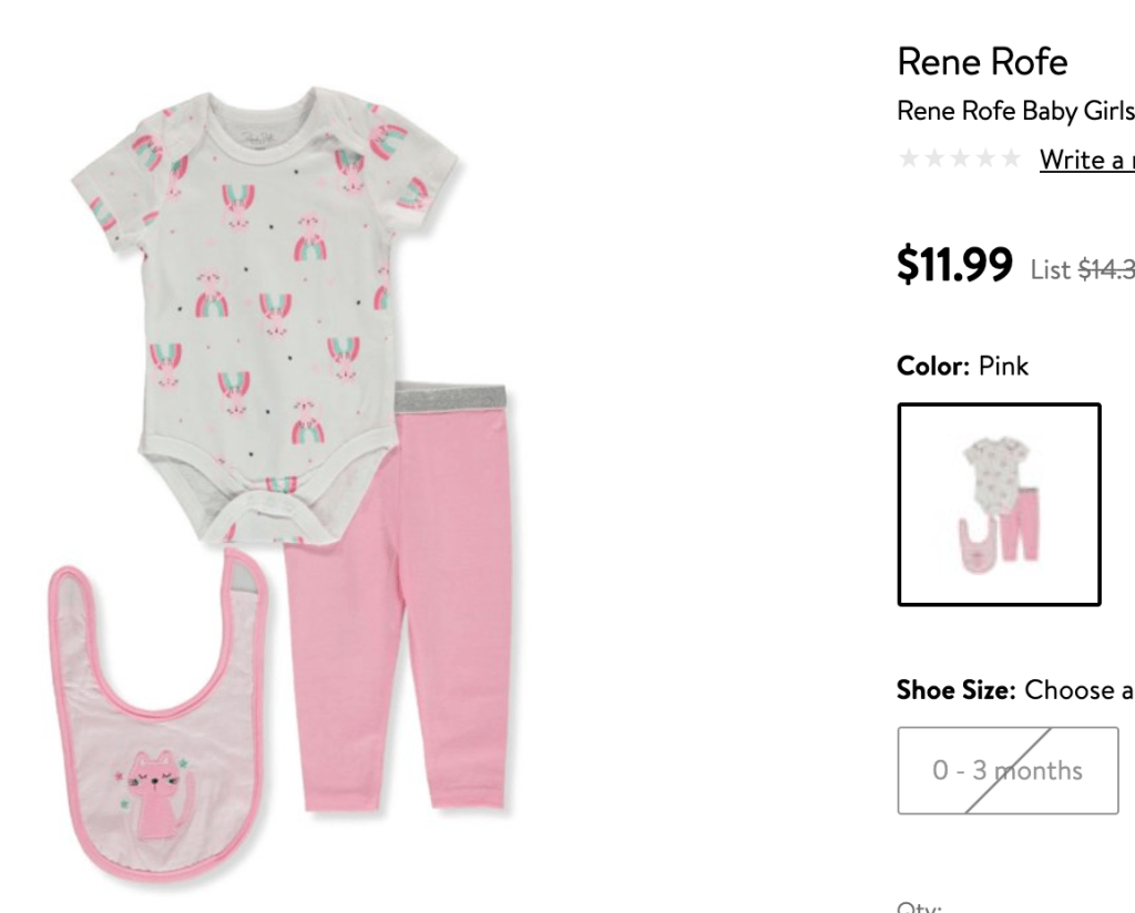 An example of a retail price for a baby outfit.
