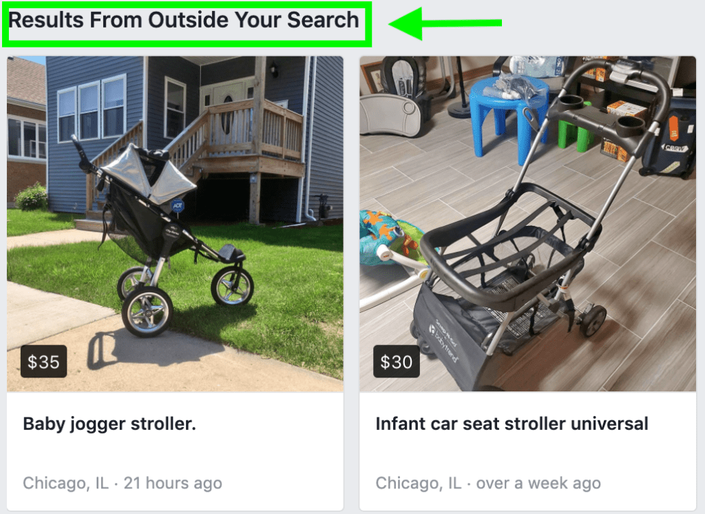 Example of the location function in Facebook Marketplace search results