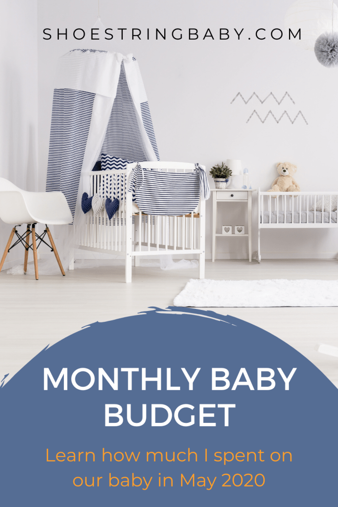 Monthly baby budget graphic with nursery background.