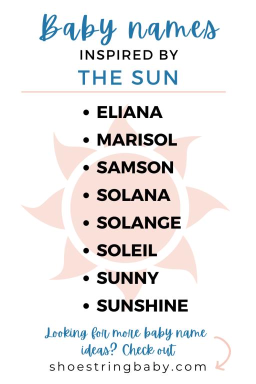 Baby names than mean sun or sunshine