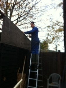 Justin up the ladder
