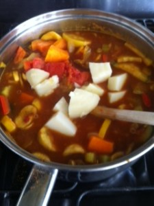 A hotpotch of veg - left over potatoes going into the curry