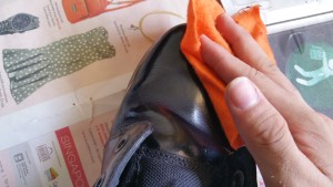 wipe boot with damp cloth