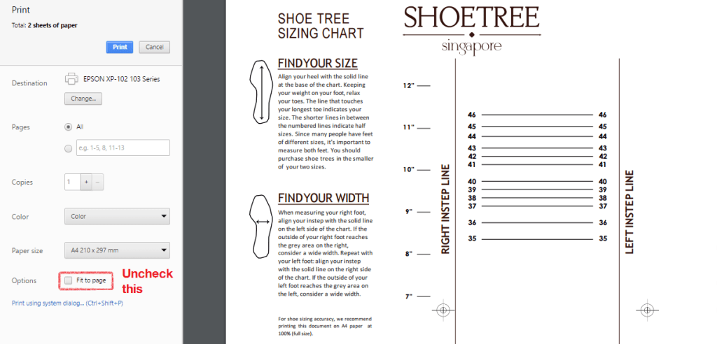 Print Shoe Tree Singapore Size Guide