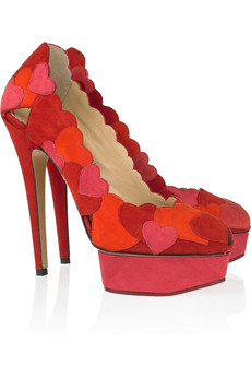 Charlotte Olympia Love Me heart-appliquéd suede pumps $1,450 (Now, that is expensive!)
