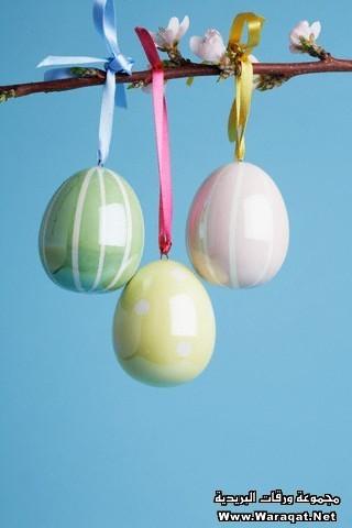 Ceramic Easter Eggs on Cherry Blossom Branch