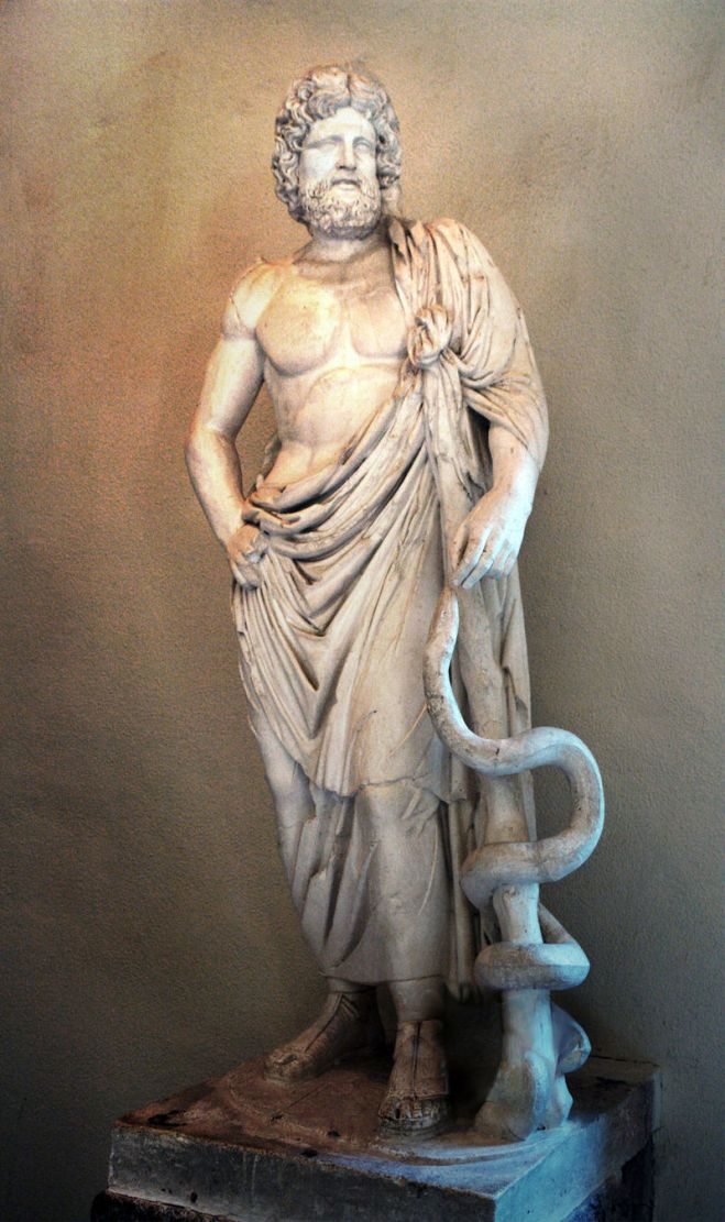 esculapius with his serpent-entwined staff