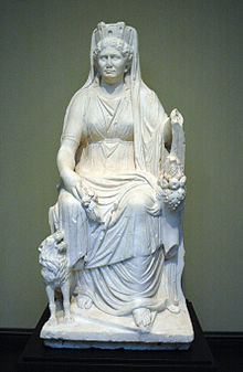 "Image of the Roman goddess Cybele ""the mother of the gods"""