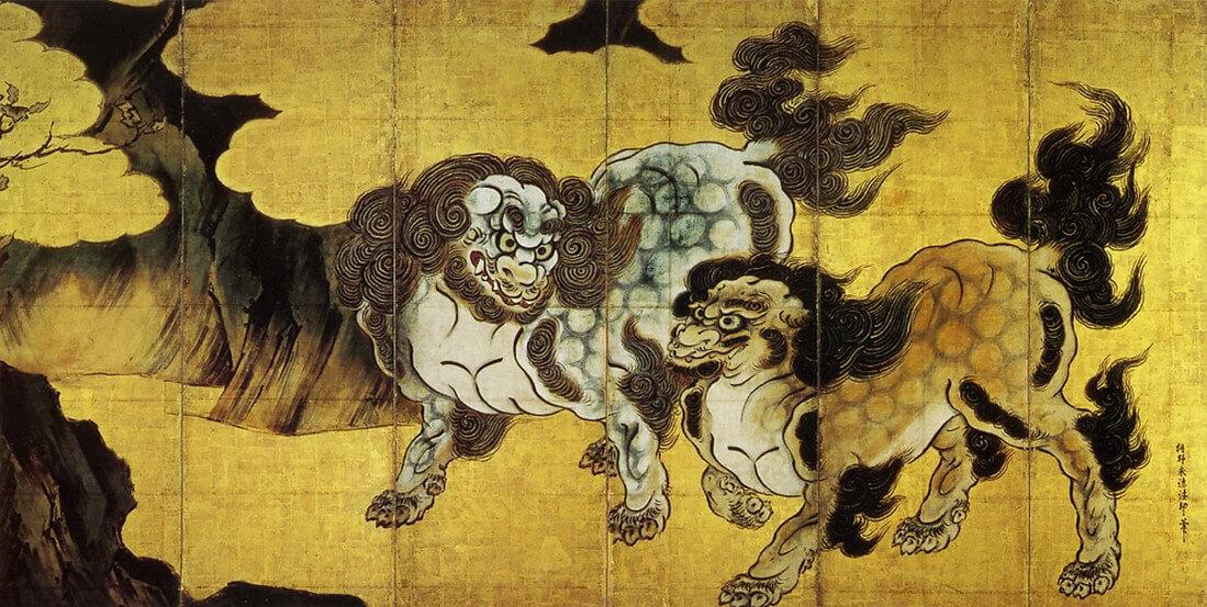 """Karajishi-zu byōbu"" (The huge folding screen of Chinese lions) by Kanō Eitoku (狩野永徳)"