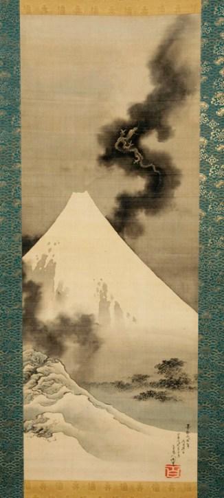 Dragon flying over Mount Fuji