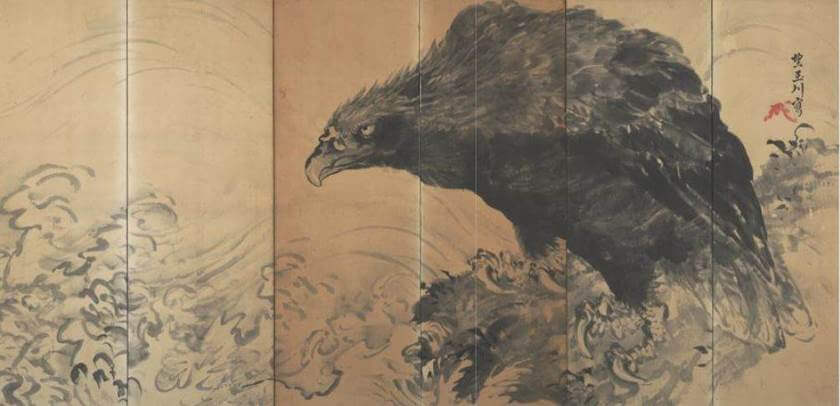 Eagle on Rock by Waves by Mochizuki Gyokusen (望月玉川)