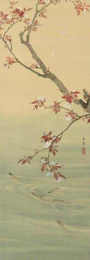 Ōka Ayuzu (Figure of sweetfishes swimming underneath cherry blossoms )by Mochizuki Gyokusen (望月玉泉)