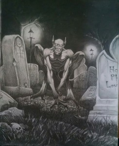 Image is a humanoid in a cemetary. Humanoid is bald, with pointed ears, a mouth full of needle like long fangs, with elongated, ostrich like legs. It is sitting on it's haunches with a tail behind it.