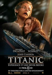 this is an altered image of the original Titanic movie poster. In it Leonardo Dicaprio's character looks like a fish-person. He's holding a red-head. An image of a sinking Titanic is underneath them.